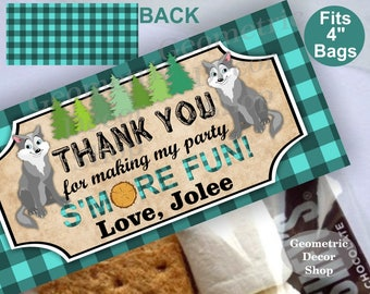 Printable Treat Bag toppers Lumberjack Birthday Party First birthday Lumber Jack Teal aqua Plaid s'more Girl Wolf Woodland TBLJ8