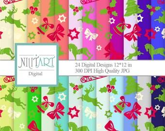 50% Off Sale Christmas digital paper, classic christmas papers, scrapbook papers, christmas background