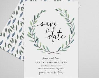 Wreath Save the Date Printable, Artemisia, Save the Date Invitation, Wedding Invite, Engagement Announcement, Engagement Invitation