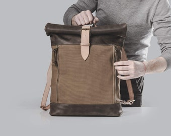 Waxed canvas and leather backpack Roll top backpack by Kruk Garagе Hand waxed canvas and leather backpack Men's backpack Canvas rucksack