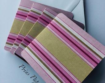 Striped Mini Note Cards Set 4