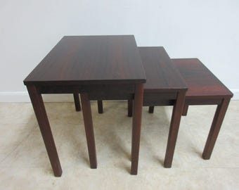 3pc Vintage Danish Modern Rosewood Stack Stacking Nest Of tables Lamp End table