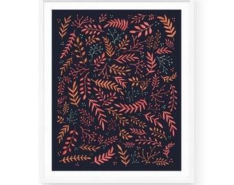 Wild Meadow - Midnight Art Print | 8x10 | Pink, Ferns, Plants, Floral, Organic, Pattern, Vibrant, Bright, Flowers, Greenery, Field, Garden