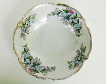Small Serving Bowl Blue and White with Pearlized Glaze, Round Vegetable Bowl, Lusterware Bowl, Irridescent,