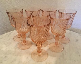 """Vintage Arcoroc France """"Rosaline"""" Set Of Eight (8) Wine Goblets. Swirling Lined Pattern. Discontinued."""