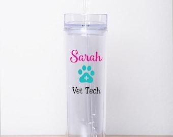 Vet Tech Gift - Vet Tech Tumbler - Vet Tech - Personalized Skinny Tumbler - Gift for Vet Tech - Kennel Tech