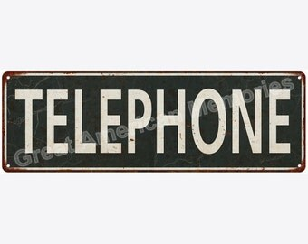 Telephone Distressed Look Metal Sign 6x18 6180611