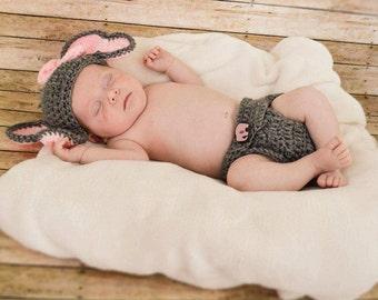 Elephant newborn outift... Hat.. diaper cover