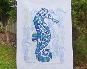 Linen Cotton tea towel, kitchen tea towel, seahorse tea towel, coastal, sea life, ocean, marine life