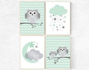 Gender neutral nursery decor, mint nursery decor, we love you to the moon and back, mint gray, owl room decor, Owl nursery wall art