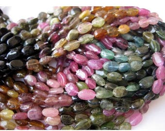 ON SALE 50% Tourmaline Beads, Oval Beads, Tourmaline Gemstone, Multi Tourmaline Beads, 6mm Each,  14 Inch Strand