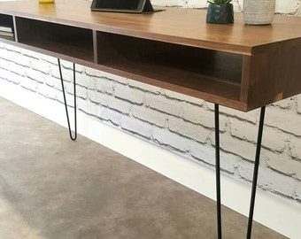 Mid-Century Modern, Desk, Console Table, TV Stand, With Hairpin Legs