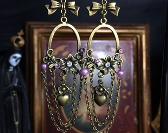 romantic earrings with chains and pendants heart retro style
