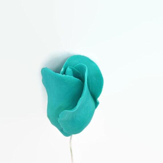Teal Color Rose Buds for sugar flower arrangements, fondant gumpaste flower wedding cake toppers, cake decorations, filler flowers