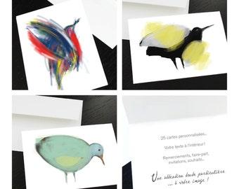 25 cartes personnalisées, faire-part, invitation, remerciements, naissance, deuil. Votre texte, graphisme inclus.