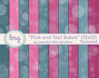 Pink and Teal Digital Paper, Bokeh Backgrounds, Watercolor Papers, Pink and Teal, Boho Patterns, 12x12, Instant Download, Commercial Use