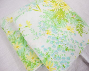 2 Vintage Pillowcases - Standard Size Poly Cotton Pillowcases - Springfield - Green, Yellow, Blue, Pink Floral
