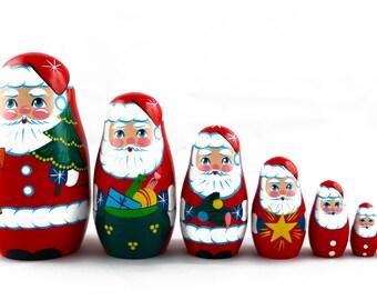 Matryoshka Matrioshka Russian Nesting Doll Babushka Santa Claus Ded Moroz New Year Christmas Set 7 Pieces