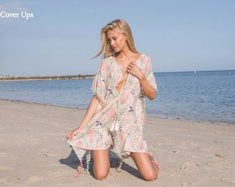 Floral Tunic Cover Up with Tie Up Front and Pom Pom Trims. Boho Chic Caftan