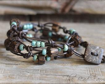 Beaded Wrap Bracelet, Wrap Bracelet,  Knotted Leather Bead Bracelet, Triple Wrap Leather Beaded Bracelet,  Knotted Leather Wrap Bracelet