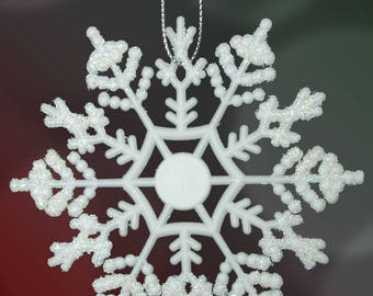 """White Glitter Snowflake Ornaments - Pack of 12 Shatterproof Snowflakes - 5""""D - 3512"""