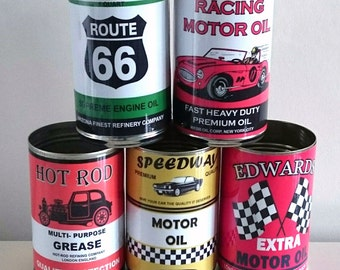 Job lot 5 reproduction vintage classic  oil cans tins display props gas station collectible rustic or normal