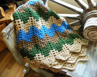 Hand Crocheted Ripple Granny Stitch Afghan