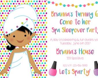 Spa Party Invitation, Spa Birthday Invitation, Spa Party Supplies, Girls Spa Party Invitation, Tan Girls Spa, Hispanic Girls Spa Party