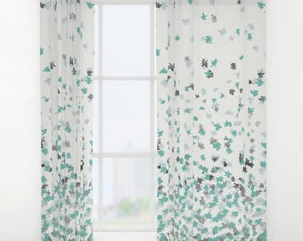 "Window Curtains - Floating Confetti Dots - Mint Aqua Silver White - 50"" x 84"" - Rod Pocket - Bedroom Decor Accessories Kids Nursery Playroom"