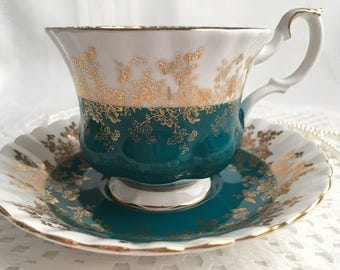 Royal Albert Bone China Tea Cup and Saucer, Regal Series, Teal Blue with Gold Gilding and Trim
