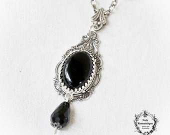 Victorian Gothic Silver Ornate Drop Pendant with Black Onyx-Victorian Gothic Jewelry-Gothic Victorian Necklace Charm