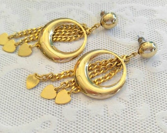 COOL Retro Vintage Heart Dangle Earrings-Pierced, Gold, Hoop, Chain, Circle-All Orders Only 99c Shipping!!