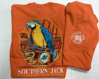 Southern Jack Parrot Comfort color pocket tee shirt NEW