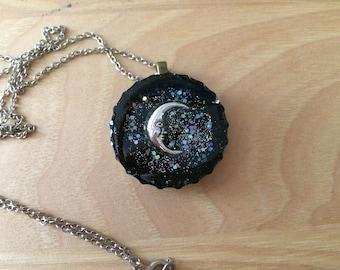 Crescent Moon Resin bottle cap pendant
