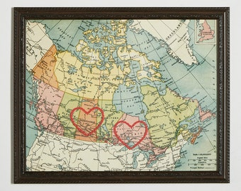 Two Canadian Hearts Connecting 8x10 Hand Embroidered Map, Travel Canada, Paper Anniversary, Love, Engagement, Graduation Gift, Long Distance