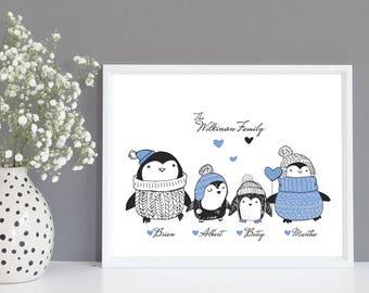 Personalised Penguin Family Tree Gift, Family Tree Print, Family Gift, Family Christmas Gift, Family Portrait, Personalised Family Gift