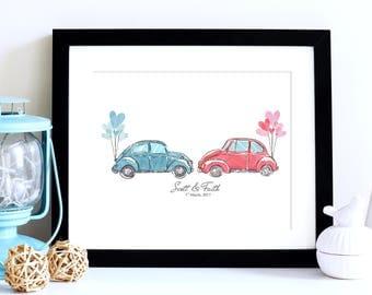 VW Beetle Wedding Gift, Couples Gift, Wedding Print, Wedding Wall Art, Personalised Wedding Gift, Anniversary Gift, Custom Wedding Gift