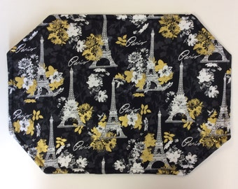 Paris Black, Gold and White Placemats/ Set of 4