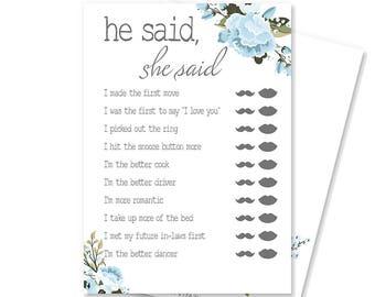 He Said She Said Printable Bridal Shower Game | Guess Who Said It Game | Bridal Shower Decorations | Floral Bridal Shower | Blair Collection
