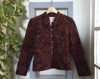 Karin Stevens Jacket // Quilted Jacket // Paisley Print Jacket // 90's Jacket // Fitted Jacket