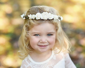 Flower Girl Crown Ivory - Flower Crown Wedding White - Bridal Flower Crown - Toddler White Hair Crown - First Communion - Girls Halo Crown