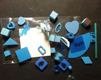 30 Small Blue Objects Findings Shapes Game Pieces Miniatures Animals More Assemblage Mixed Media Altered Art