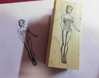 """Mounted on Wood Rubber Stamp Barbie Retro Bathing Suit 1995 3.5"""" x 1.5"""" Preowned Good Condition MARS Tokyo Sally Mericle"""