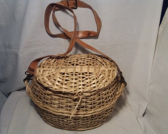 Vintage 1970's Hand - Woven Straw Bag Fisherman - NEW