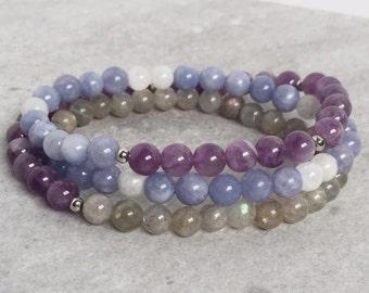 Soul Soother Wrap - Angelite, Amethyst, Labradorite, Moonstone - Mala Meditation Yoga Jewelry