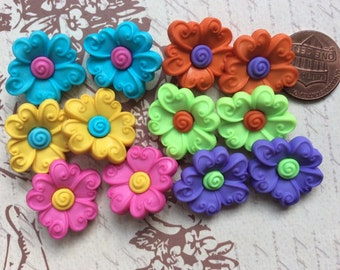 SET of 12 Bright and Colorful 2 Colored Flower Shanked Buttons Craft knitting Embellishment