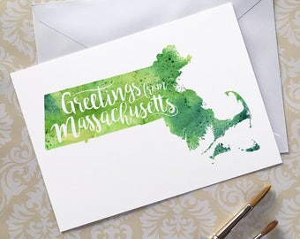 Massachusetts Watercolor Map Greeting Card, Greetings from Massachusetts Hand Lettered Text, Giclée Print, Map Art, Choose from 5 Colors