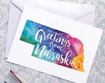Nebraska Watercolor Map Greeting Card, Greetings from Nebraska Hand Lettering, Gift or Postcard, Giclée Print, Map Art, Choose from 5 Colors