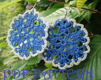 Crochet Flower Earrings PDF Pattern Verona