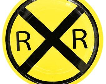 Railroad Crossing Mylar Balloon/ Train Birthday Party Balloons/ Train Balloon/ Train Birthday Party Decor/ Railroad Train Party
